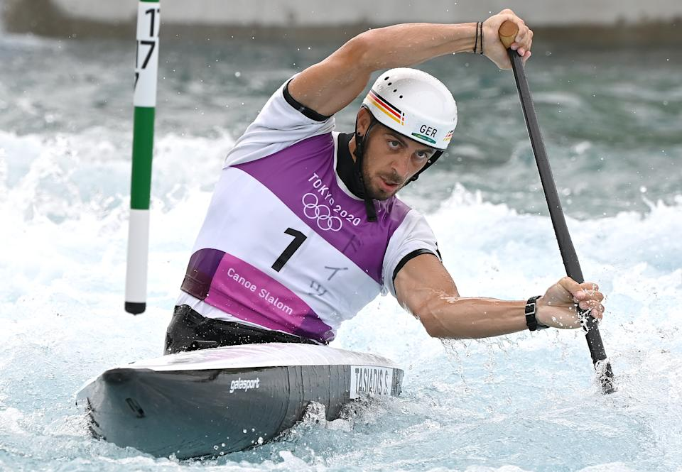 TOKYO, JAPAN - JULY 26: Sideris Tasiadis of Germany competes in the Gold Medal Finals of the Men's Canoe Slalom C1 event on day three of the Tokyo 2020 Olympic Games at Kasai Canoe Slalom Centre on July 26, 2021 in Tokyo, Japan. (Photo by Bradley Kanaris/Getty Images)