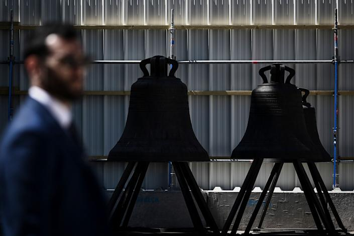Bells are pictured inside the Notre Dame de Paris Cathedral, May 15, 2019 in Paris. (Photo: Philippe Lopez/Pool via AP)