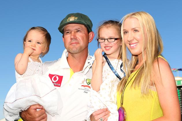 Ricky Ponting of Australia poses with his daughters Emmy (L), Matisse and wife Rianna Ponting following playing his last test match for Australia on day four of the Third Test Match between Australia and South Africa at WACA on December 3, 2012 in Perth, Australia.  (Photo by Cameron Spencer/Getty Images)