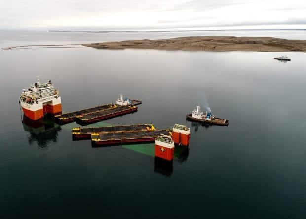 Four new MTS barges seen in 2020. The Northwest Territories government confirmed that it's discontinuing regular barge service to Cambridge Bay, effective this summer.  (GNWT Department of Infrastructure - image credit)