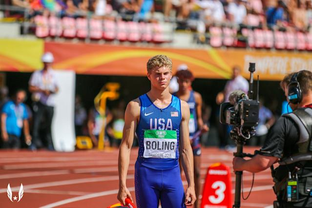 Matthew Boling, 18, broke a 29-year-old national record in the 100-meter dash on Saturday at the Texas state track meet. (Courtesy of USATF)