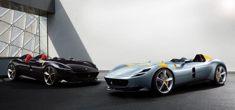 Ferrari's new Monza SP1 and SP2 cars are seen in this picture released by Ferrari press office during a meeting in Maranello