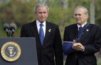 FILE - In this Sept. 11, 2008, file photo, with former Defense Secretary Donald Rumsfeld next to him, President George W. Bush concludes his remarks during a memorial ceremony at the Pentagon, marking the 7th anniversary of the Sept. 11 attacks on the Pentagon and World Trade Center. The family of Rumsfeld says he died Tuesday, June 29, 2021. He was 88. (AP Photo/Susan Walsh)