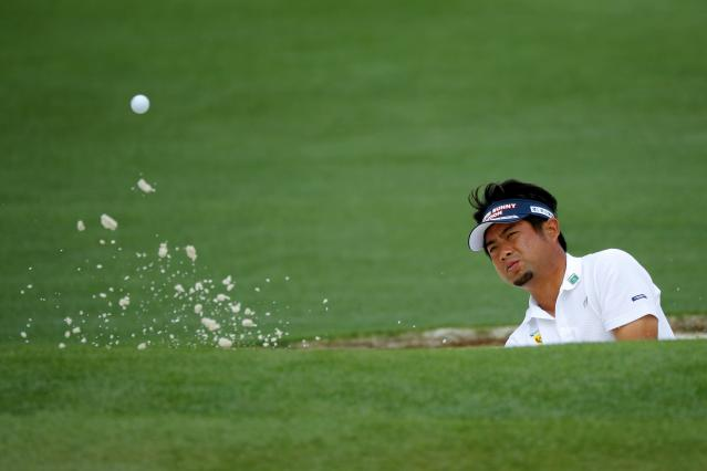 Yuta Ikeda of Japan hits from a sand trap on the second hole during the final day of practice for the 2018 Masters golf tournament at Augusta National Golf Club in Augusta, Georgia, U.S. April 4, 2018. REUTERS/Brian Snyder