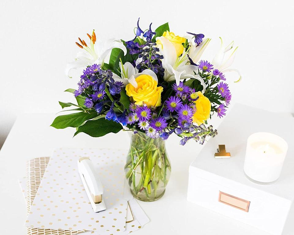 """<p><strong>From You Flowers</strong></p><p>fromyouflowers.com</p><p><strong>$33.99</strong></p><p><a href=""""https://go.redirectingat.com?id=74968X1596630&url=https%3A%2F%2Fwww.fromyouflowers.com%2Fproducts%2Fbig_bright_blue_skies_bouquet.htm&sref=https%3A%2F%2Fwww.goodhousekeeping.com%2Fholidays%2Fmothers-day%2Fg26977276%2Fbest-mothers-day-flower-delivery-services%2F"""" rel=""""nofollow noopener"""" target=""""_blank"""" data-ylk=""""slk:BROWSE ARRANGEMENTS"""" class=""""link rapid-noclick-resp"""">BROWSE ARRANGEMENTS</a></p><p><strong>From You Flowers almost always has a special promotion on their site, like 15% off sitewide right now with code """"050."""" </strong>You can even find <a href=""""https://go.redirectingat.com?id=74968X1596630&url=https%3A%2F%2Fwww.fromyouflowers.com%2Foccasion%2Fsale-flowers-gifts&sref=https%3A%2F%2Fwww.goodhousekeeping.com%2Fholidays%2Fmothers-day%2Fg26977276%2Fbest-mothers-day-flower-delivery-services%2F"""" rel=""""nofollow noopener"""" target=""""_blank"""" data-ylk=""""slk:clearance bouquets"""" class=""""link rapid-noclick-resp"""">clearance bouquets</a> and <a href=""""https://go.redirectingat.com?id=74968X1596630&url=https%3A%2F%2Fwww.fromyouflowers.com%2Fflower%2Fsale-roses&sref=https%3A%2F%2Fwww.goodhousekeeping.com%2Fholidays%2Fmothers-day%2Fg26977276%2Fbest-mothers-day-flower-delivery-services%2F"""" rel=""""nofollow noopener"""" target=""""_blank"""" data-ylk=""""slk:roses"""" class=""""link rapid-noclick-resp"""">roses</a>. For your order, local florists close to your mom's home will arrange a bouquet so she receives the freshest flowers possible. Each bouquet even comes with a card message for you to write a personal note. </p>"""
