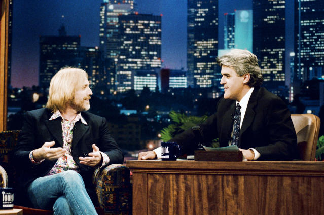 <p>Tom Petty and Jay Leno during an interview on <i>The Tonight Show</i> in Burbank, Calif., Aug. 5, 1996. (Photo: Margaret Norton/NBC/Getty Images) </p>