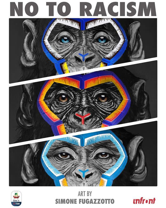 """An anti-racism graphic image by Italian artist Simone Fugazzotto featuring three pictures of apes under the words """"NO TO RACISM"""" designed for Italian soccer league Serie A"""