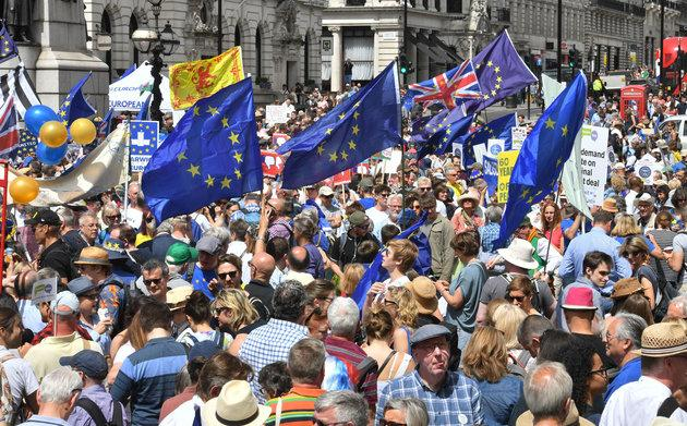 Crowds gather on Pall Mall in central London, during the People's Vote march for a second EU referendum.