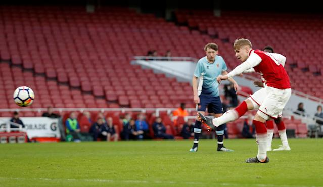 Soccer Football - FA Youth Cup Semi Final Second Leg - Arsenal vs Blackpool - Emirates Stadium, London, Britain - April 16, 2018 Arsenal's Emile Smith Rowe scores their fourth goal Action Images/Matthew Childs
