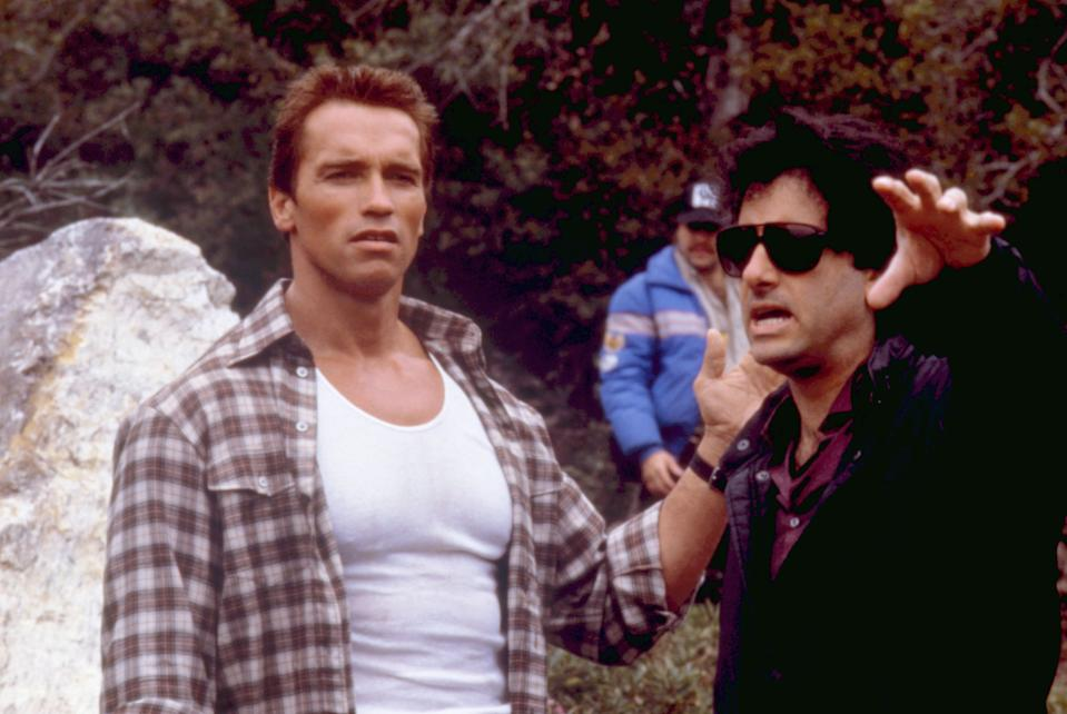Schwarzenegger and Mark Lester on the set of 'Commando' (Photo: 20thCentFox/Courtesy Everett Collection)