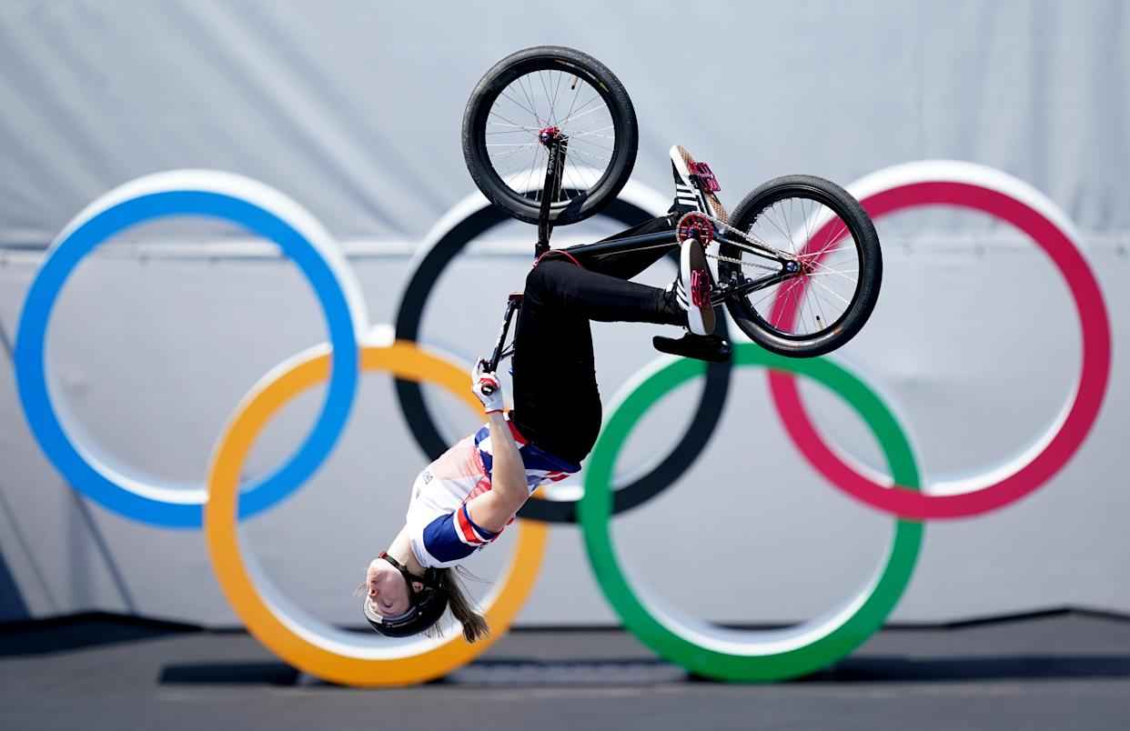 Great Britain's Charlotte Worthington on her way to winning a gold medal in the women's BMX freestyle at the Ariake Urban Sports Park on the ninth day of the Tokyo 2020 Olympic Games in Japan. Picture date: Sunday August 1, 2021. See PA story OLYMPICS Cycling. Photo credit should read: Mike Egerton/PA Wire. RESTRICTIONS: Use subject to restrictions. Editorial use only, no commercial use without prior consent from rights holder.