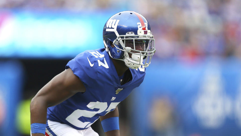 New York Giants cornerback Deandre Baker (27) during an NFL football game on Sunday, Oct 6, 2019, in East Rutherford, N.J. (AP Photo/Vera Nieuwenhuis)