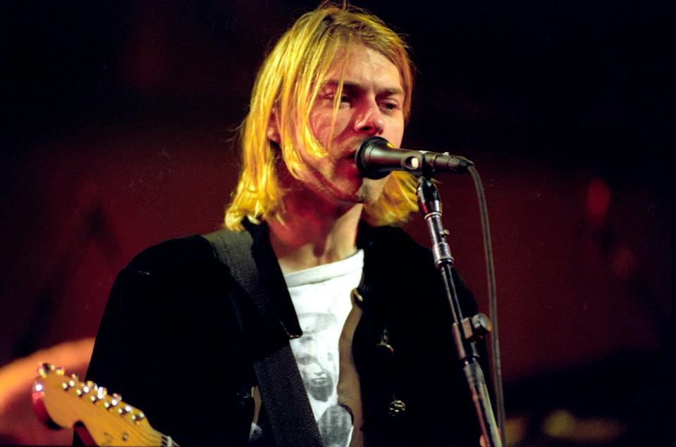 Kurt Cobain of Nirvana during MTV Live and Loud: Nirvana Performs Live - December 1993 at Pier 28 in Seattle, Washington, United States. (Photo by Jeff Kravitz/FilmMagic, Inc)