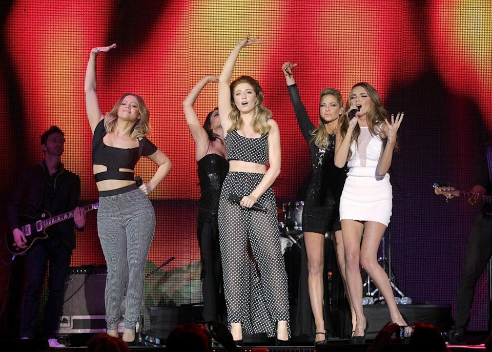 Girls Aloud on stage during the 2012 Capital FM Jingle Bell Ball at the O2 Arena (Yui Mok/PA) (PA Archive)