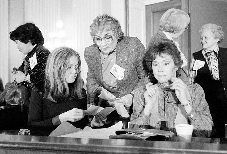 Gloria Steinem, Bella Abzug, and Mary Tyler Moore advocate for women on Capitol Hill in 1981. (Photo: AP Photo/John Duricka)
