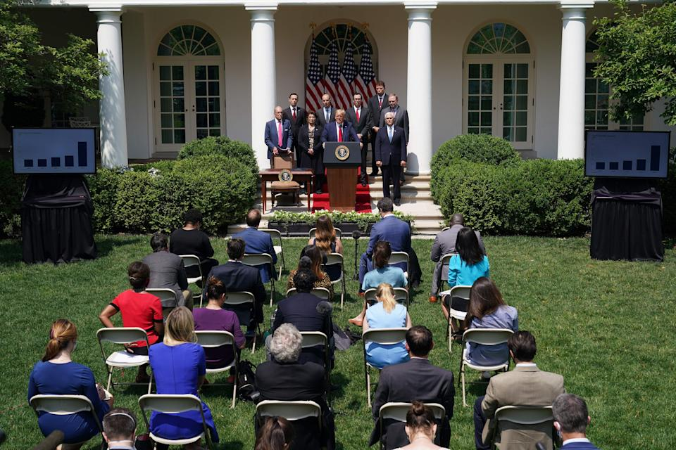 President Trump's Rose Garden press conference on Friday. (Mandel Ngan/AFP via Getty Images)