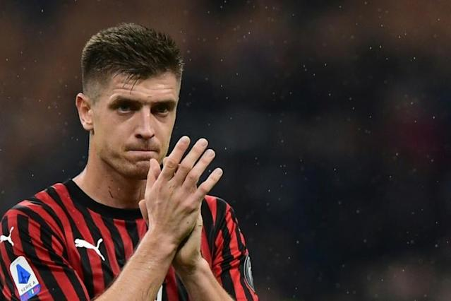 Polish forward Krzysztof Piatek opened the scoring for AC Milan for his fourth goal this season. (AFP Photo/Miguel MEDINA)