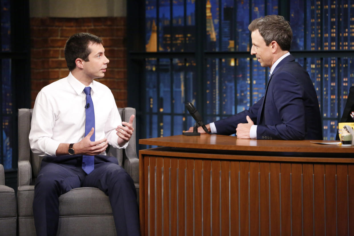 Buttigieg during a 2017 interview with host Seth Meyers. (Photo: Lloyd Bishop/NBC/NBCU Photo Bank via Getty)