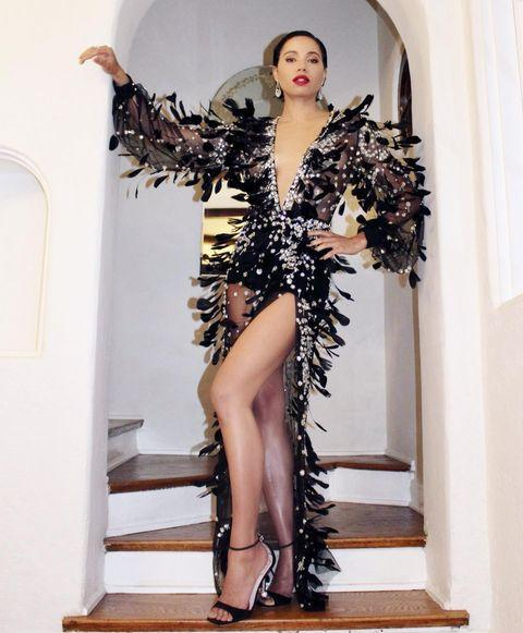 """<p>The Birds of Prey actor wore an extravagant gown by Elie Saab for the Oscars after party and jewellery by Messika.</p><p><a href=""""https://www.instagram.com/p/COI9i3CF_9m/"""" rel=""""nofollow noopener"""" target=""""_blank"""" data-ylk=""""slk:See the original post on Instagram"""" class=""""link rapid-noclick-resp"""">See the original post on Instagram</a></p>"""