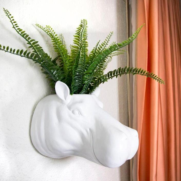 "Add a little whimsy to your wall with this hippo wall planter. $80, Wayfair. <a href=""https://www.wayfair.com/Wrought-Studio--Murawski-Hippo-Flower-Polyresin-Wall-Planter-X111798098-L349-K~W000687987.html"" rel=""nofollow noopener"" target=""_blank"" data-ylk=""slk:Get it now!"" class=""link rapid-noclick-resp"">Get it now!</a>"