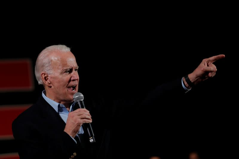 Democratic 2020 U.S. presidential candidate and former Vice President Joe Biden speaks during a campaign event in Iowa City, Iowa, U.S.