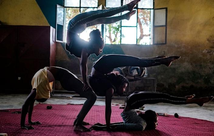On Tuesday members of the Tigray circus rehearse in the Ethiopian city of Mekeele...