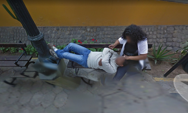 A couple was caught canoodling on Google Street View by an eagle-eyed husband. (Photo: Google)