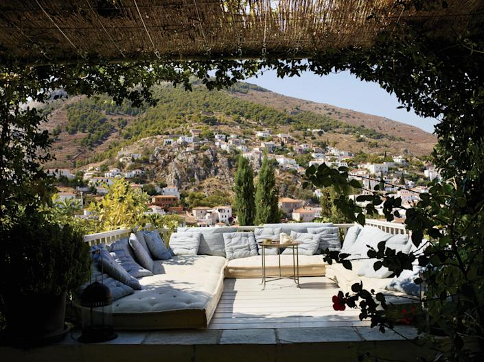 There's plenty of room for lounging the days away at designer Tino Zervudachi's Greek getaway.