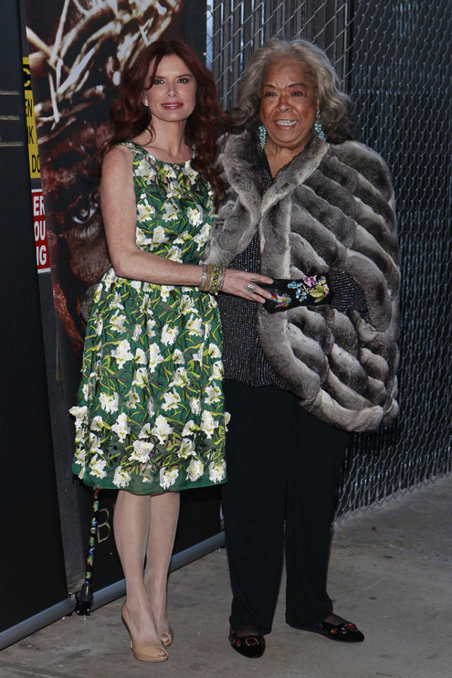 "Producer and Actress Roma Downey and Della Reese arrive at ""The Bible Experience"" opening night gala, a rare exhibit of biblical artifacts, in New York City on Tuesday, March 19 in New York."