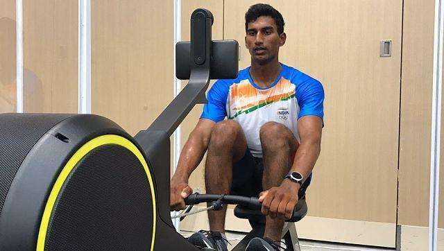 Indian sailor leaving no stone unturned to prepare for Games. Here is is training at the Olympics Village gym. Image courtesy: Twitter/@Media_SAI