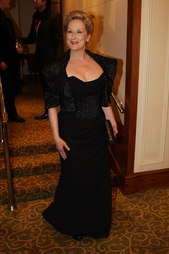 LONDON, ENGLAND - FEBRUARY 12:  (UK TABLOID NEWSPAPERS OUT) Meryl Streep attends The Orange British Academy Film Awards 2012 afterparty at The Grosvenor House Hotel on February 12, 2012 in London, England.  (Photo by Dave Hogan/Getty Images)