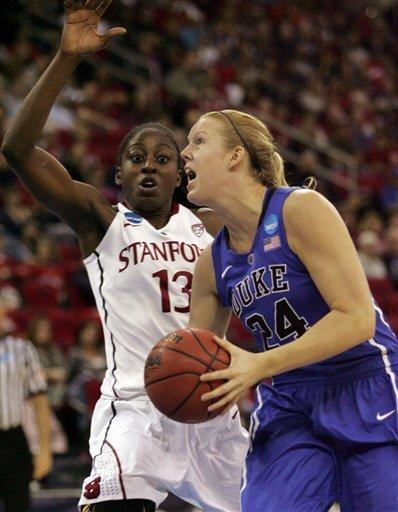 CORRECTS TO REGIONAL FINAL, INSTEAD OF SEMIFINAL - Duke's Kathleen Scheer drives past Stanford's Chiney Ogwumike in the first half of an NCAA women's tournament regional final college basketball game Monday, March 26, 2012, in Fresno, Calif. (AP Photo/Gary Kazanjian)