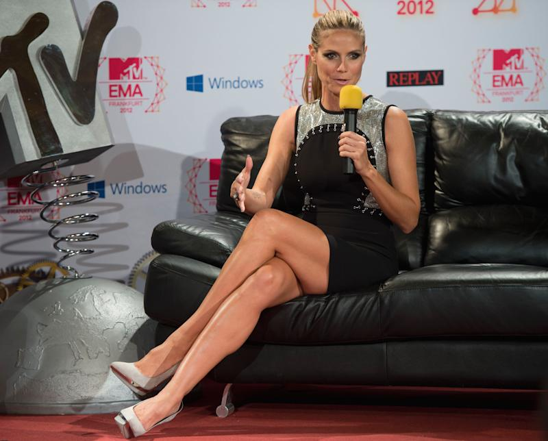 MTV European Music Awards  2012  host, German model Heidi Klum, speaks during a press conference in the town hall of Frankfurt, Germany, Saturday Nov. 10 2012.  The model and TV personality will be on hand to host the big night on Sunday, Nov. 11 2012.  (AP Photo/dapd/Thomas Lohnes)