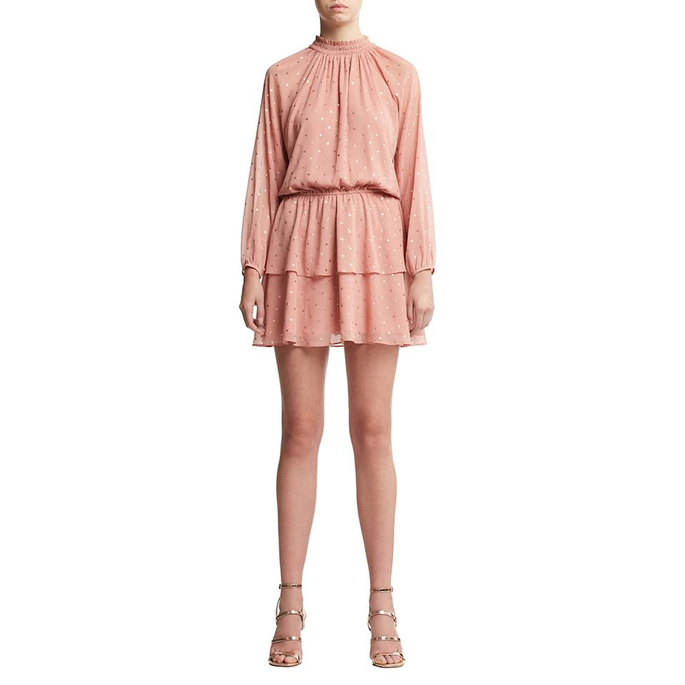 """<p>If you know you'll be dancing the night away, this playful ruffled dress is just the thing. Its sparkling layers are perfect for twirling on the dance floor.</p> <p><strong>To buy:</strong> $50; <a href=""""https://goto.walmart.com/c/249354/565706/9383?subId1=WDA4EditorialContent5RSaffordableholidaydressesccalucchia1219&sharedid=WDA4EditorialContent5RSaffordableholidaydressesccalucchia1219&veh=aff&sourceid=imp_000011112222333344&u=https%3A%2F%2Fwww.walmart.com%2Fip%2FScoop-Women-s-Foil-Dot-Print-Dress%2F660028016"""">walmart.com</a></p>"""