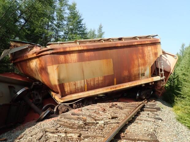 The Transportation Safety Board of Canada is continuing to investigate the cause of a 30-car derailment on a CN rail line northwest of Moncton on Aug. 21. The 133-car train was carrying potash.  (Transportation Safety Board of Canada/Submitted - image credit)