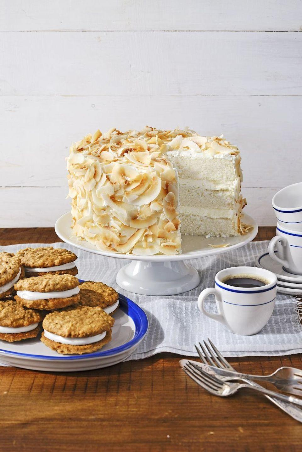"""<p>Check the box on """"white"""" for your red, white, and blue celebration: airy angel food cake, cream cheese frosting, and coconut flakes make the prettiest monochromatic dessert.</p><p><em><a href=""""https://www.countryliving.com/food-drinks/a30418948/coconut-angel-cake-recipe/"""" rel=""""nofollow noopener"""" target=""""_blank"""" data-ylk=""""slk:Get the recipe from Country Living »"""" class=""""link rapid-noclick-resp"""">Get the recipe from Country Living »</a></em></p>"""