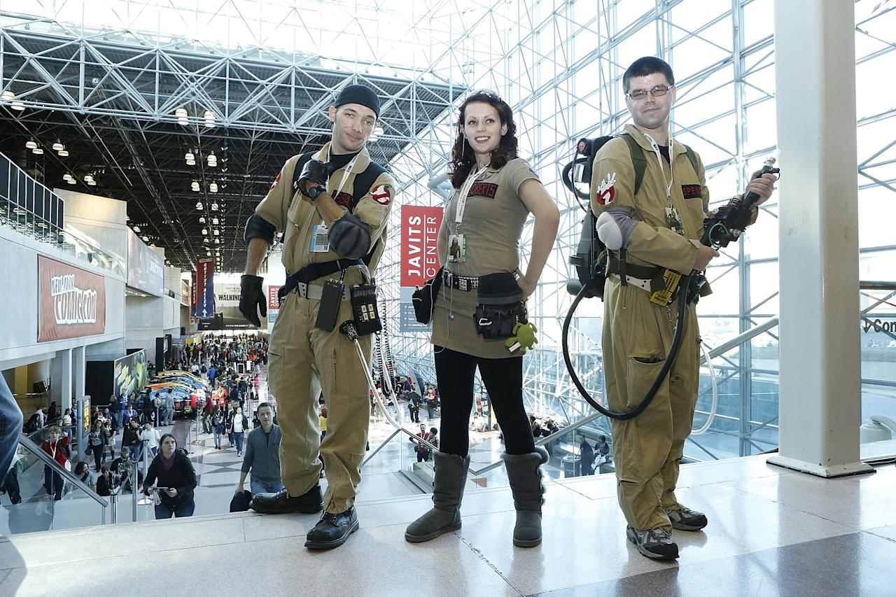 Fans dressed as Ghostbusters attend the 2012 New York Comic Con at the Javits Center on October 11, 2012 in New York City.  (Photo by John Lamparski/WireImage)
