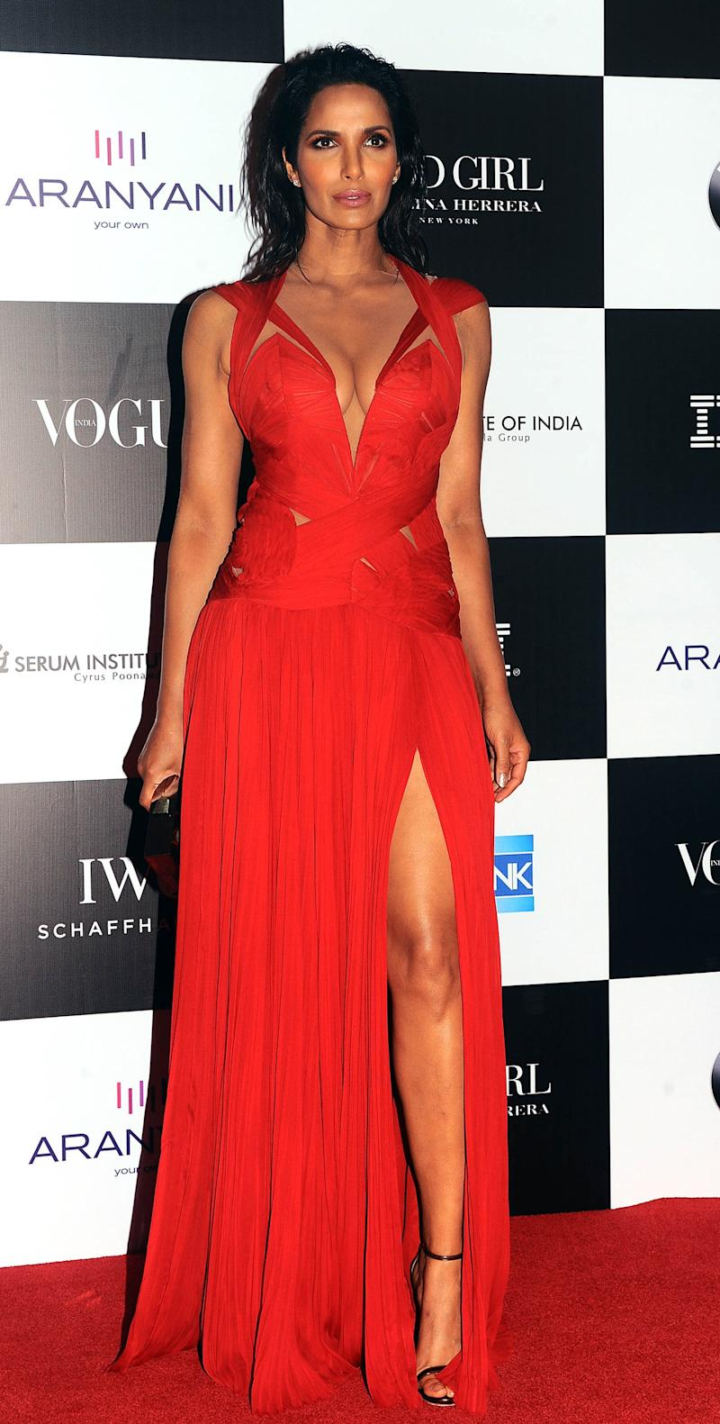 Indian model and actress Padma Lakshmi poses for a photo during the 10th edition of the 'Vogue Women of the Year Awards' event in Mumbai on September 24, 2017.