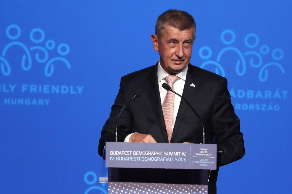 FILE - Czech Republic's Prime Minister Andrej Babis speaks during the 4th Budapest Demographic Summit in Budapest, Hungary, in this Thursday, Sept. 23, 2021, file photo. Hundreds of world leaders, powerful politicians, billionaires, celebrities, religious leaders and drug dealers have been stashing away their investments in mansions, exclusive beachfront property, yachts and other assets for the past quarter century, according to a review of nearly 12 million files obtained from 14 different firms located around the world. The report released Sunday, Oct. 3, 2021 by the International Consortium of Investigative Journalists involved 600 journalists from 150 media outlets in 117 countries. Czech Republic's Prime Minister Andrej Babis is one of 330 current and former politicians identified as beneficiaries of the secret accounts.(AP Photo/Laszlo Balogh, File)