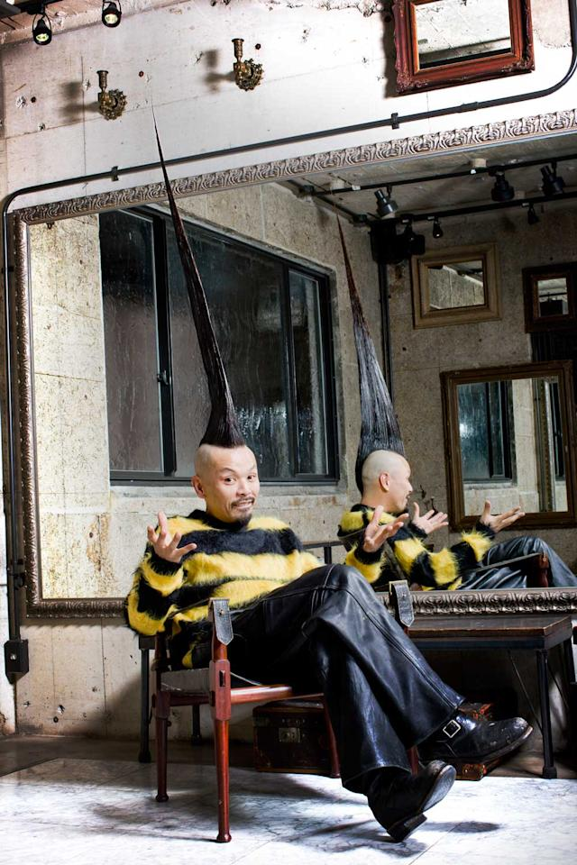 The tallest Mohican measures 113.5 cm (44.68 in) and belongs to Kazuhiro Watanabe from Tokyo, Japan