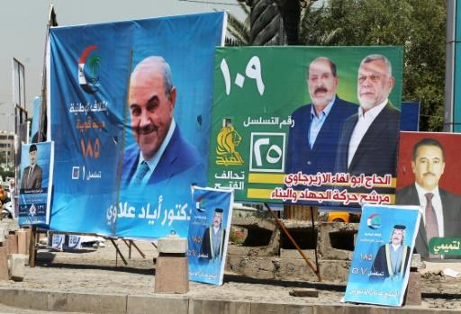 Electoral posters in Baghdad for Iraq's parliamentary elections to be held on May 12