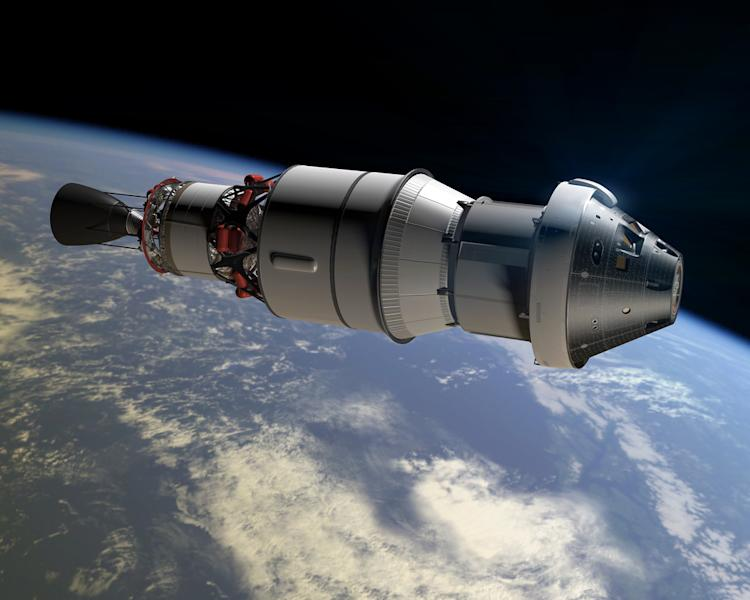 This artist rendering shows the Orion space capsule that NASA wants to use for a deep space mission. Astronauts traveling to and from Mars would be bombarded with as much cosmic radiation as they'd get from a full-body CT scan about once a week for a year, researchers reported Thursday, June 30, 2013. NASA aims to send a crew to orbit the red planet by the mid-2030s. (AP Photo/NASA)