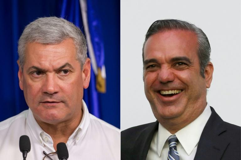 Ruling PLD candidate Gonzalo Castillo (L) and Luis Abinader of the opposition PRM ahead of the presidential and legislative elections in the Dominican Republic