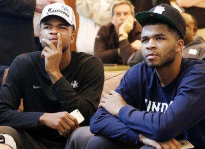 Aaron Harrison (left) was not drafted while Andrew Harrison was taken 44th. (AP)