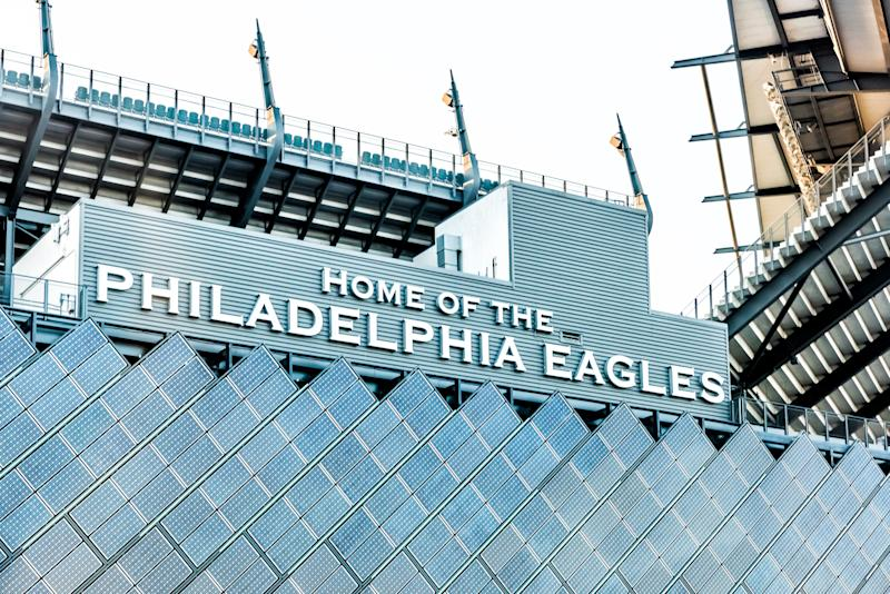 Philadelphia: Closeup of sign for Lincoln Financial Field stadium, home of eagles with bleachers seats