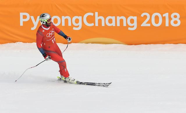 <p>Aksel Lund Svindal of Norway looks on after making a run during the Men's Downhill 3rd Training on day one of the PyeongChang 2018 Winter Olympic Games at Jeongseon Alpine Centre on February 10, 2018 in Pyeongchang-gun, South Korea. (Photo by Alexander Hassenstein/Getty Images) </p>