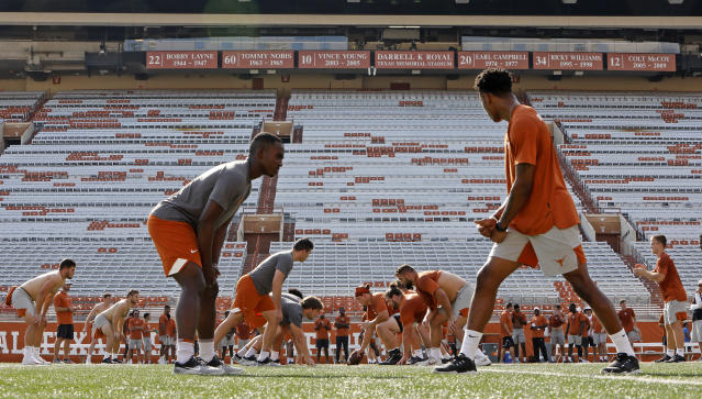 Members of the Texas Longhorns football team during Family Friday practice held Friday Sept. 6, 2019 at Darrell K Royal-Texas Memorial Stadium in Austin, Tx. ( Photo by Edward A. Ornelas )