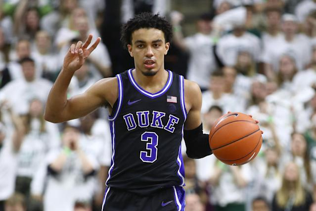 Tre Jones missed his second straight game on Saturday due to a sprain in his left foot. (Gregory Shamus/Getty Images)