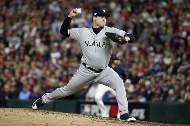 New York Yankees relief pitcher Adam Ottavino throws during the fifth inning in Game 3 of a baseball American League Division Series against the Minnesota Twins, Monday, Oct. 7, 2019, in Minneapolis. (AP Photo/Bruce Kluckhohn)