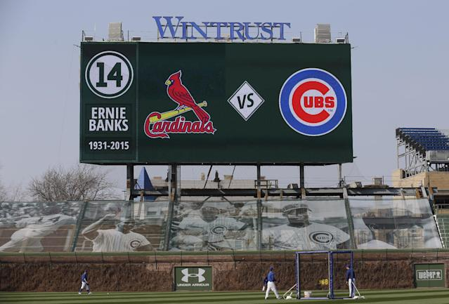 A new video board in the left field bleachers is shown before a Major League Baseball season-opening game between the Chicago Cubs and the St. Louis Cardinals in Chicago, Sunday, April 5, 2015. (AP Photo/Nam Y. Huh)